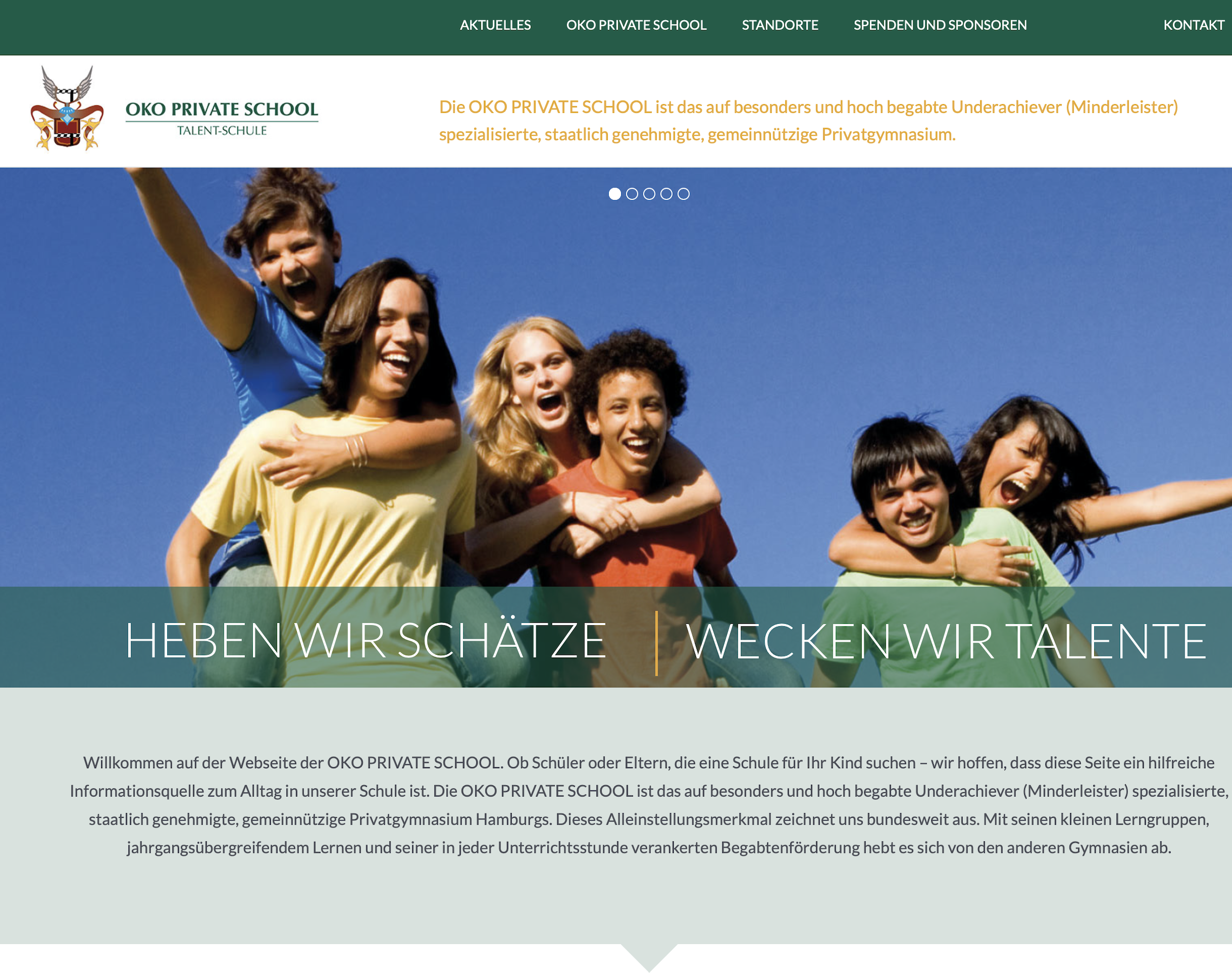 Webseite OKO Private School